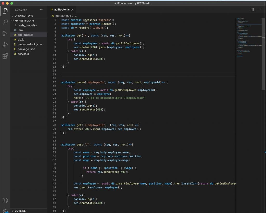 apiRouter in VS code