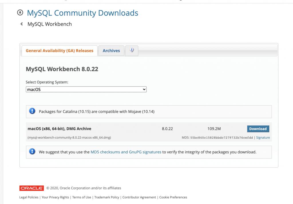 MySQL  Workbench download mac OS