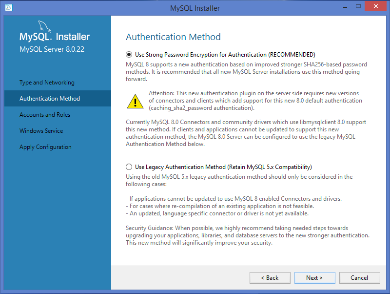 MySQL Windows  installer: select Authentication method