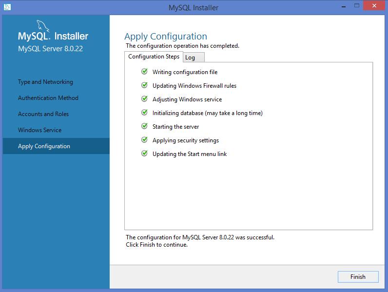MySQL Windows installer: confirm and apply configuration