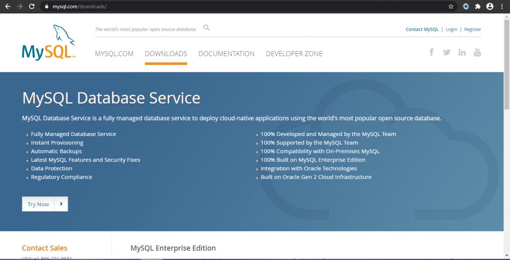 MySQL downloads page