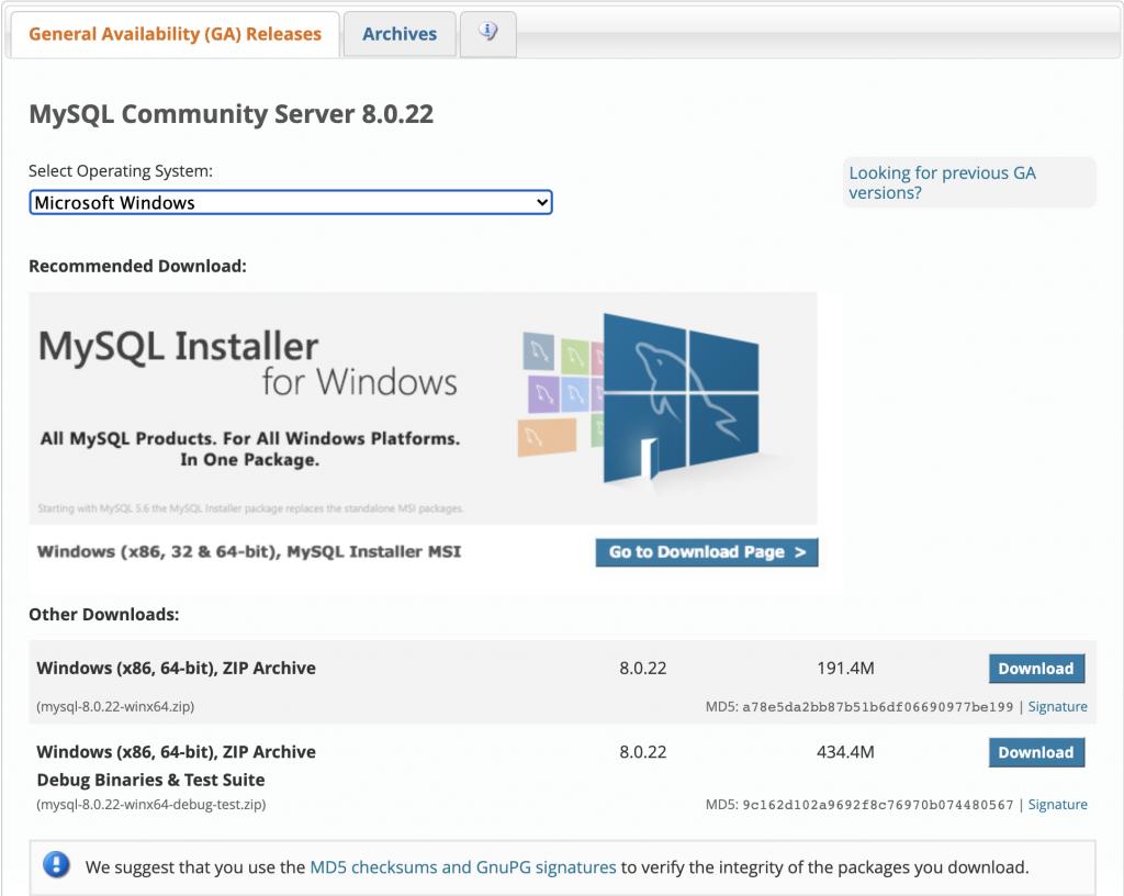 MySQL download: select operating system