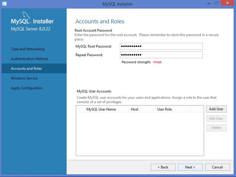 MySQL Windows installer: create MySQL password
