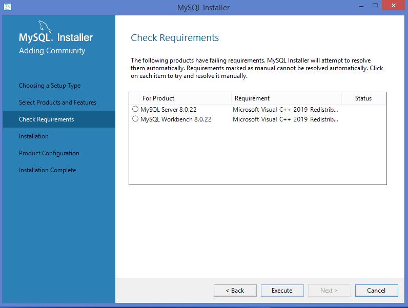 MySQLWindows installer: requirements installation