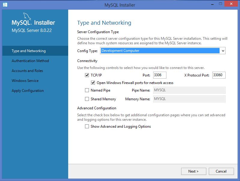 MySQL Windows installer: Type and networking