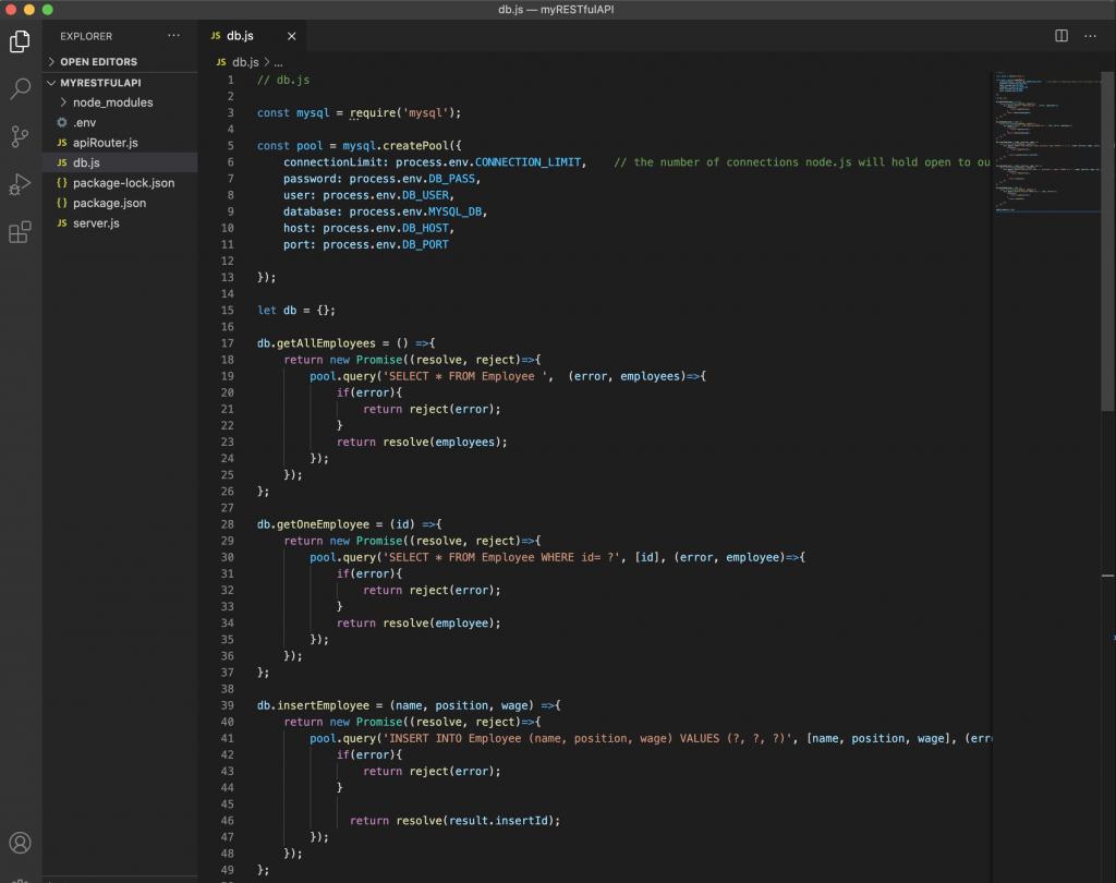 db.js in VS code