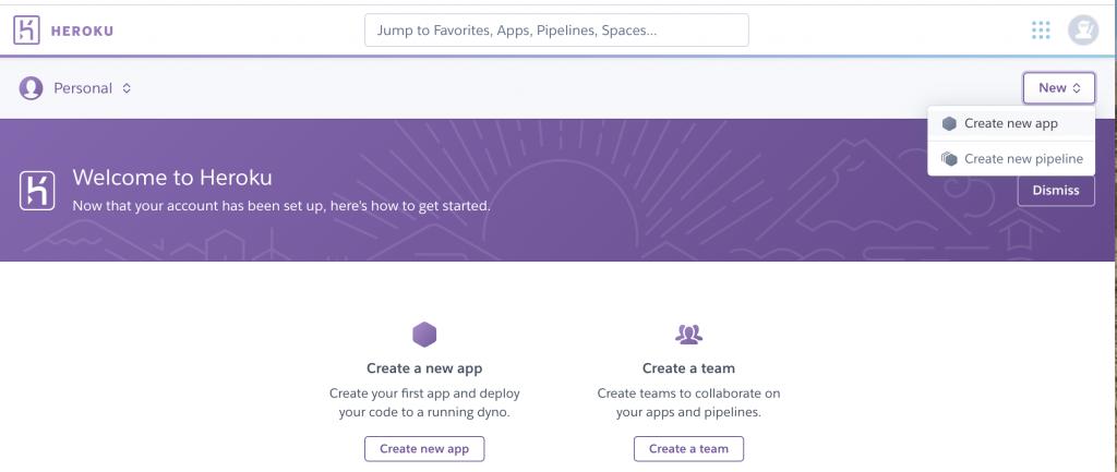 Hroku create new app